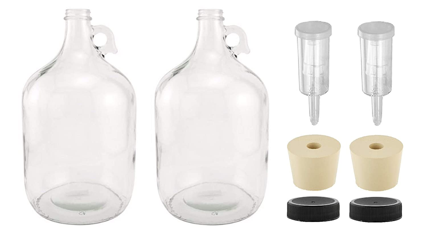 North Mountain Supply 1 Gallon Glass Fermenting Jug with Handle, 6.5 Rubber Stopper, 3-Piece Airlock, Black Plastic Lid - Set of 2