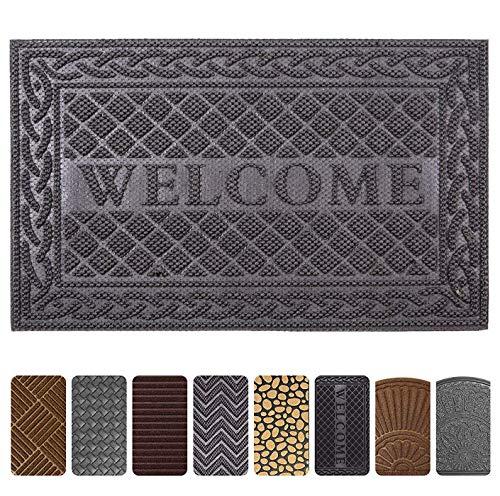 Gray Outdoor Door Mats - Mibao Entrance Door Mat, 24 x 36 inch Large Non-Slip Welcome Front Outdoor Rug, Doormat for Entry, Patio