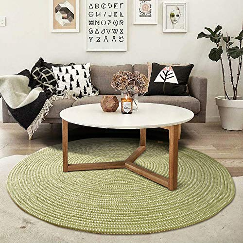 Hand Woven Round Area Rugs Living Room Bedroom Study Computer Chair Cushion Base Mat Round Carpet Lifts Basket Swivel Chair Pad Coffee Table Rug(3' Round, Green)