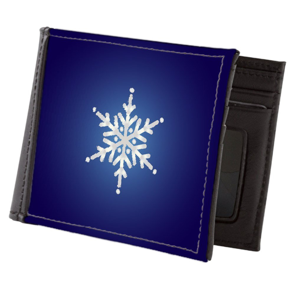 Truly Teague Mens Wallet Billfold Snowflake on Dark Blue
