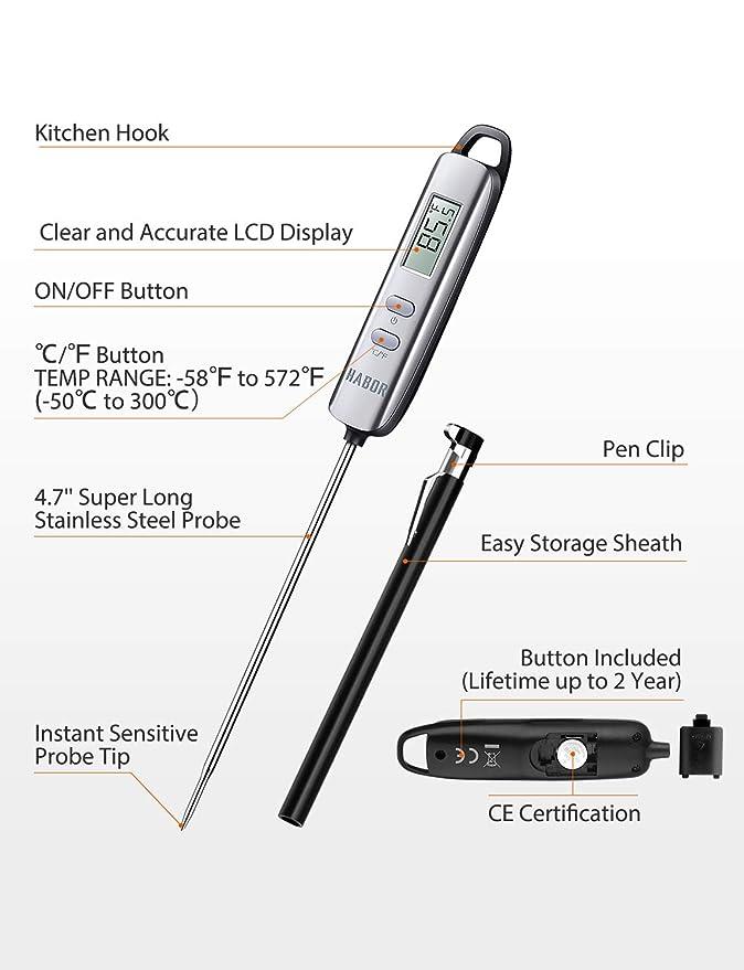 Habor Digital carne termómetro, termómetro de lectura instantánea electrónico termómetro de cocina w/pantalla LCD y Super largo sonda para cocina barbacoa ...
