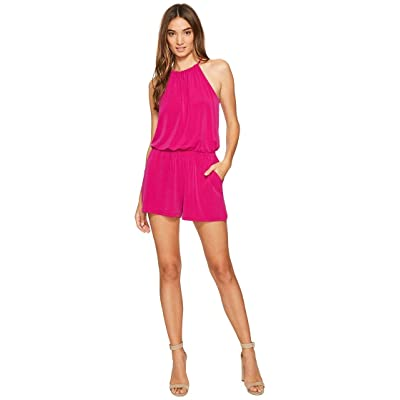1.STATE Womens High Neck Gathered Romper w/ Keyhole