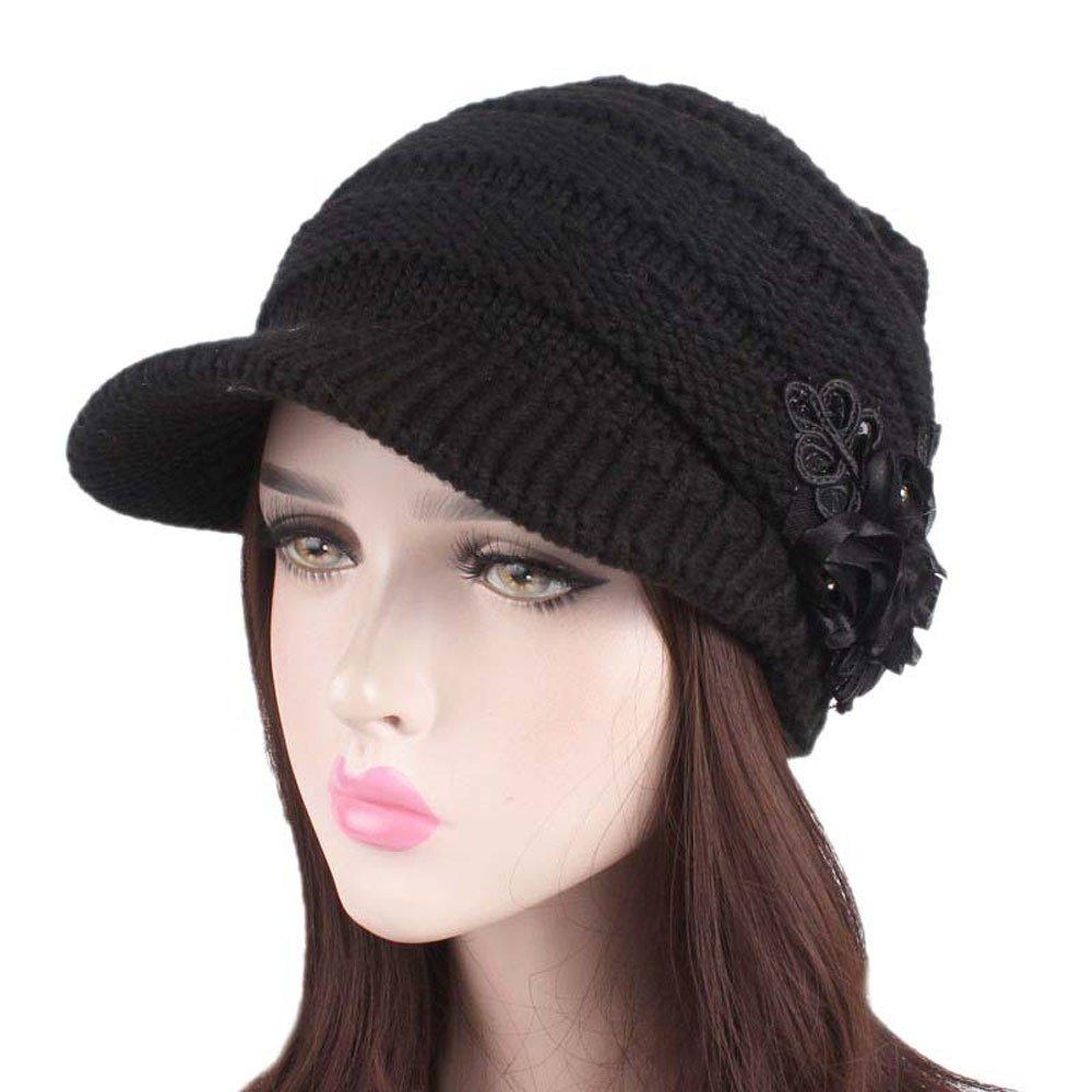 9710d1e15dd13 Amazon.com  Big Teresamoon Women Ladies Winter Knitting Hat Berets Turban Brim  Hat Cap Pile Cap  Kitchen   Dining