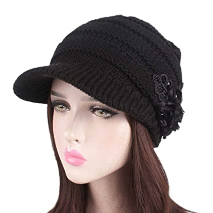 5128bdaa1bd Amazon.com  Big Teresamoon Women Ladies Winter Knitting Hat Berets Turban  Brim Hat Cap Pile Cap  Kitchen   Dining