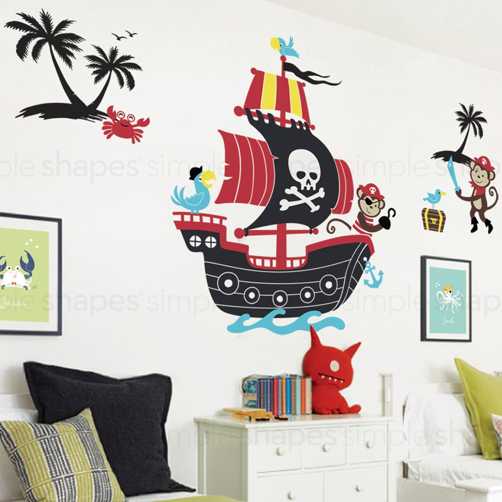 Monkey Pirate Ship Wall Decal with Two Monkey Decals Set - by Simple Shapes