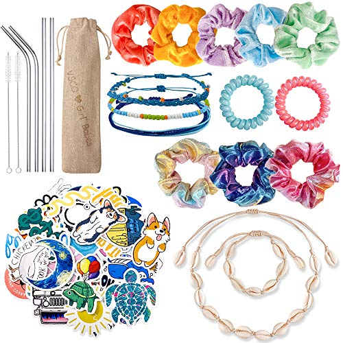 Cheap Girl Stuff (JAZIPO VSCO Girl Stuff Hair Scrunchies Velvet 50 Pack Waterproof Cute VSCO Stickers for Hydro Flask Shell Necklace Bracelet Friendship Bracelet Stainless Steel Straws with Case VSCO Girl Starter)