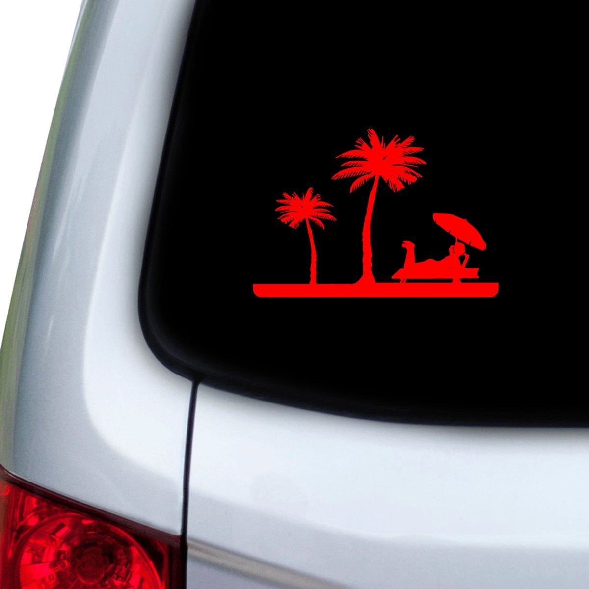 Doors StickAny Car and Auto Decal Series Girl Relaxing Beach Sticker for Windows Hoods Red