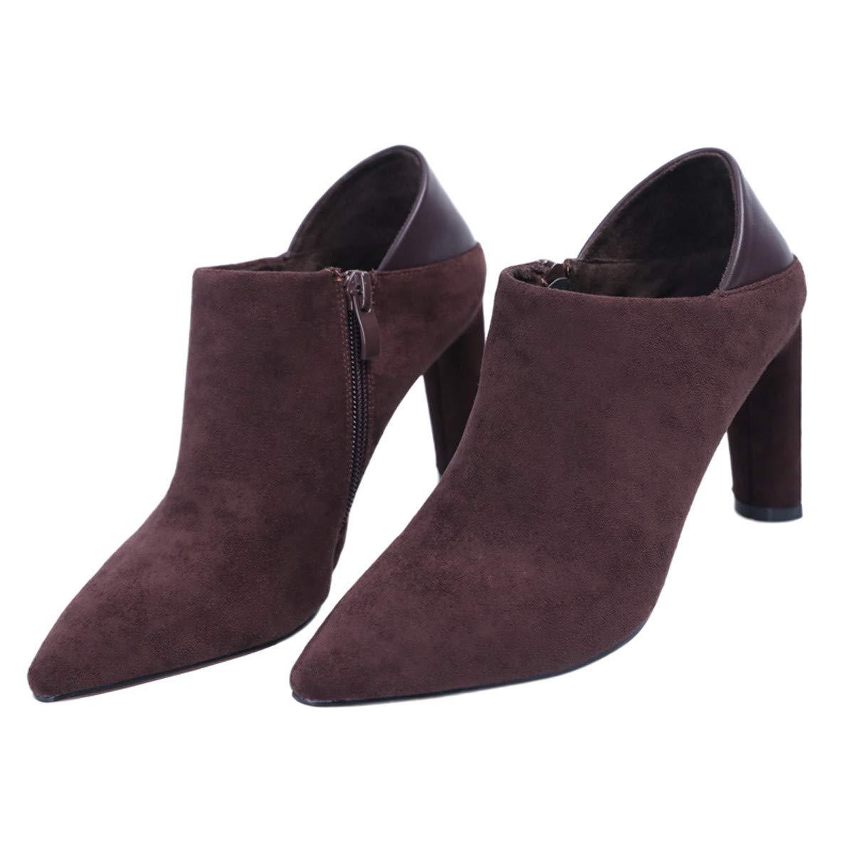 Noir SFSYDDY Chaussures Populaires Une Bouche D'épaisseur Talon De Chaussures De Style De 100 Ensembles Zipper 8.5Cm Talons Thirty-eight