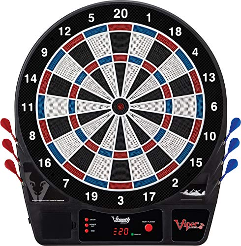 (Viper Vtooth 1000 Electronic Dartboard, App Integrated Scoring, 4 Player Multiplayer on a Single Device, Durable Nylon-Tough Segments, Included Darts And Tips, Red White And Blue Segments, 16+ Games)