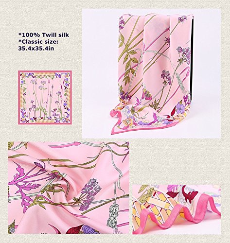 Jeelow 100% Pure Silk Scarf Scarves For Men & Women 36in Square Silk Twill Scarfs For Hair Gift Packaging by Jeelow (Image #3)