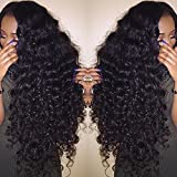 """Valentines Day Gifts for Her Perpetuum Shiny Loose Deep Curly Wave Glueless Lace Front Wigs Brazilian Virgin Human Hair Wigs With Baby Hair for Black Women(18"""" lace front wig deep curly)"""