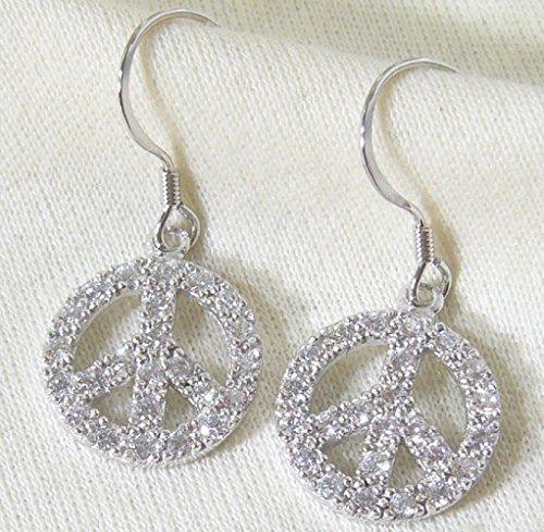 Sterling Silver CZ Peace Sign Earrings (ER-936713)