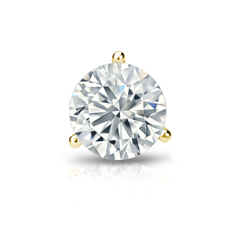 SLD 14k Gold 3-Prong Martini Round Diamond Men SINGLE STUD Earring 1//8-1 ct, Good, I1-I2