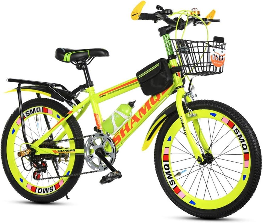 Bicicletas Triciclos Montaña Masculina Y Femenina Infantil De 20 Pulgadas Viaje De Verano Velocidad Doble Freno Ajustable (Color : Yellow, Size : 20inch)