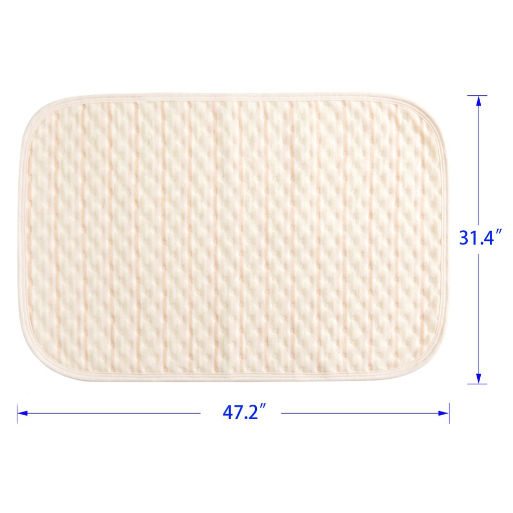 "Color,19.6/""27.5/"" Baby Crib Pee Mat Washable Urine Bed Pads Absorbent Underpads Reusable Bed-Wetting Changing Pad Organic Waterproof Mattress Sheet Protector for Toddler Kids Infant Pets Incontinence"