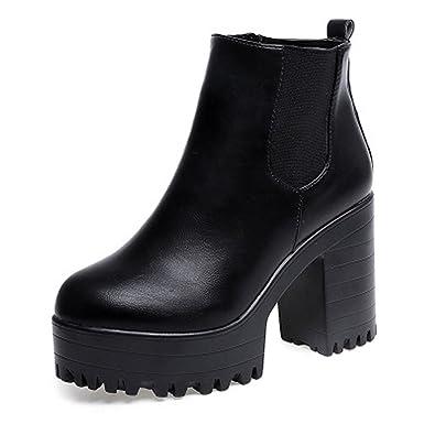 e4d3526a59a578 Femmes Chelsea Bottes Talon Haut Bloc Bottines Cuir Compensées Carré High  Heels Chaussures Automne Hiver
