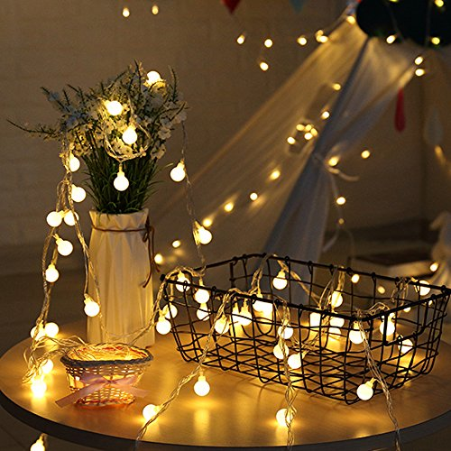 EXCEL-LEADER Globe String Light,Dailyart 8 Modes Battery Operated LED Starry Light Fairy Light for Garden,Wedding,Xmas Party(13 feet/4 Meters),Warm White