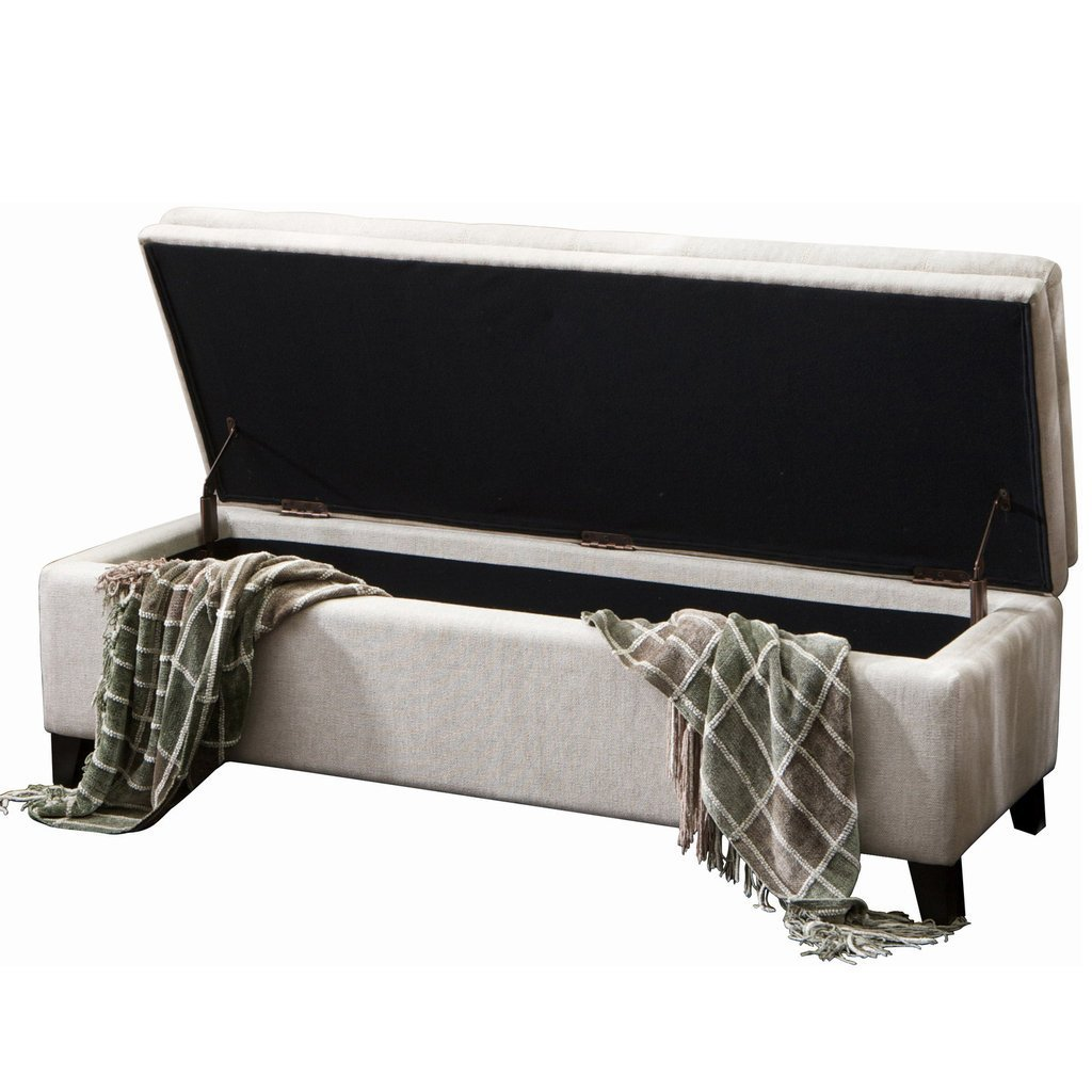 Great Deal Furniture 232959 Sandford Fabric Upholstered Storage Ottoman Bench, Off Off White
