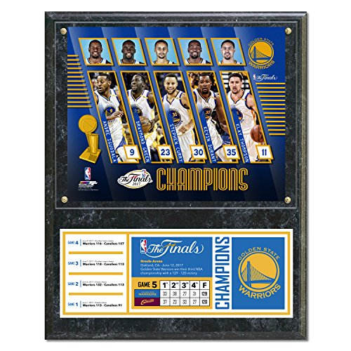 NBA Golden State Warriors 2017 Champions Composite Plaque with Metal Plate, 12'' x 15'', Multicolor by Photo File