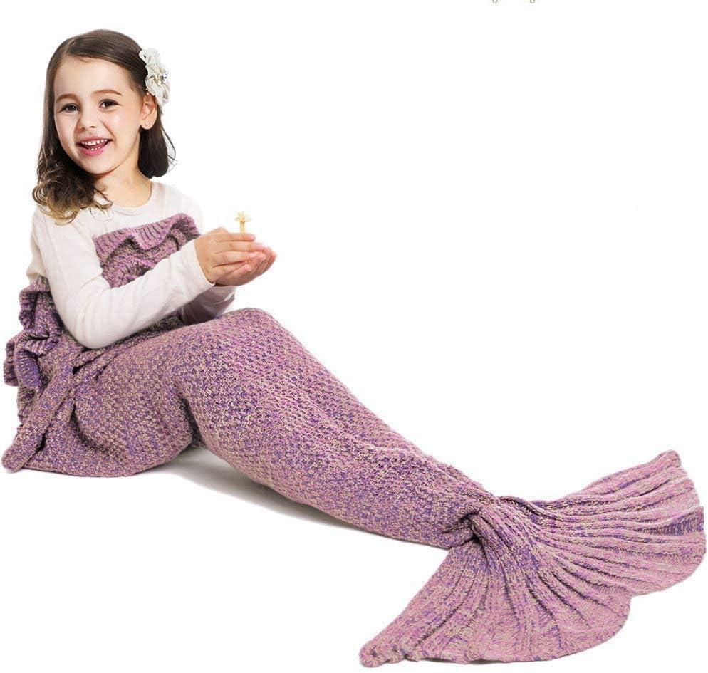 JR.WHITE Mermaid Tail Blanket for Kids, Hand Crochet Snuggle Mermaid, All Seasons Seatail Sleeping Bag Blanket (Dark Pink)