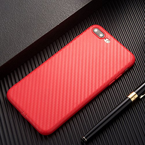 (for Apple iPhone 6s/6 Plus Slim Carbon Fiber TPU Soft phone back Case Cover Skin (Red for iPhone 6s/6 Plus 5.5