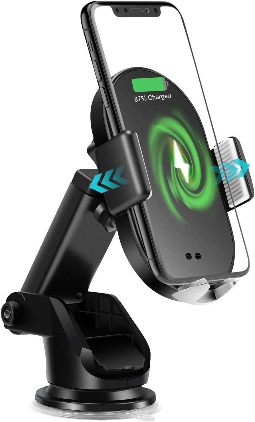 Samsung Galaxy All Smartphones JUMON TIME Wireless Car Charger Auto Clamping Car Phone Mount Dashboard Air Vent Qi Fast Charging Car Phone Holder for iPhone