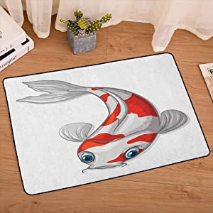 lacencn Fish Entrance Mat Grey and Red Koi Displayed in Dipping Motion Abstract Illustration of Aquarium Bedroom Rugs Super Soft Indoor Modern for Living Room Kids Room, W19 x L31 Pale Grey Red Blue