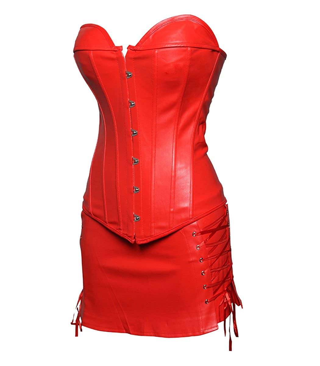 1b245dde79 JL Corset Plus Size GOTH PUNK Faux Leather Corsets with Skirt Mini Dress   Amazon.co.uk  Clothing