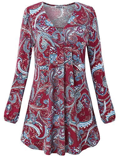 MOQIVGI Maternity Tops for Women, Puff Sleeve V Neck Elegant Flattering Paisley Shirt Country Style Peasant Plain Work Blouse Wine X-Large
