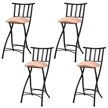 Costway Set Of 4 Folding Bar Stools Counter Height Bistro Dining Kitchen Pub  Chair (Height