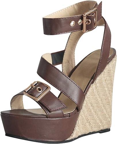 Freizeit Damen Keilabsatz Plateau Sandalen Stiefel Schuhe Peep Toe Lace Sommer