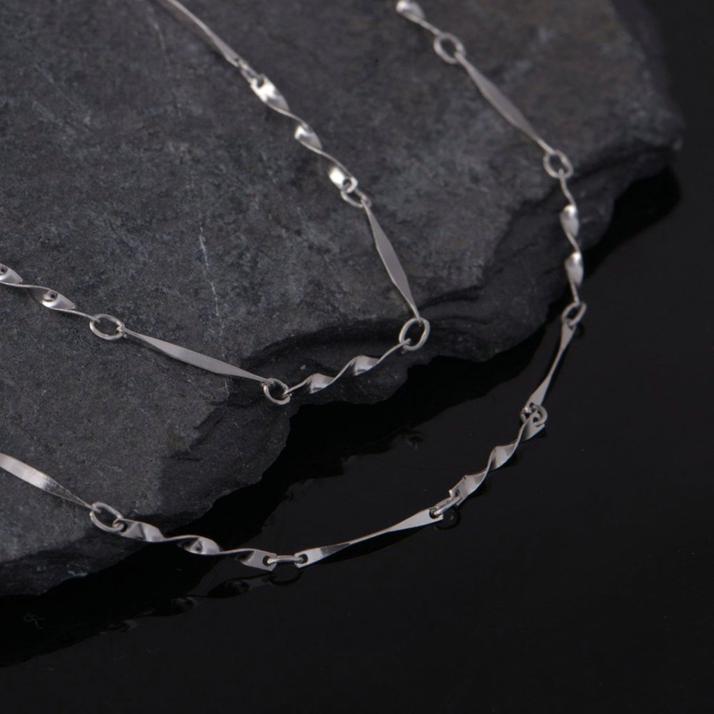 Womens Pendant Necklace Twisted Piece of 16 Inch Silver Epinki 18k White Gold Plated Necklace