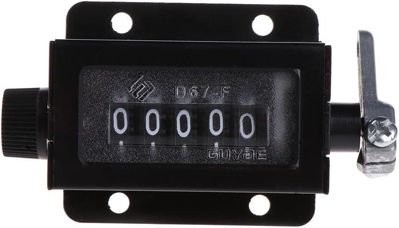 JENOR D67-F Contador mecánico de 5 dígitos, carcasa negra reajustable