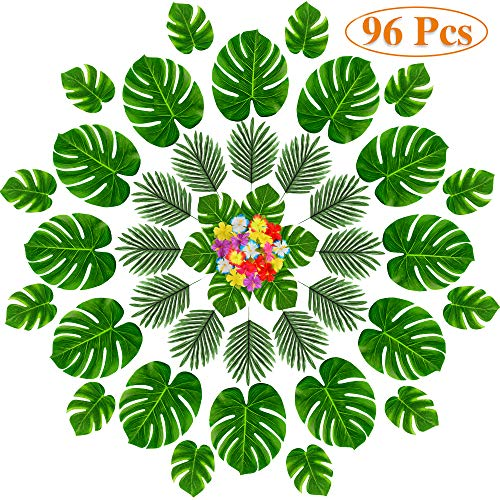 MOMOTOYS 96 Pcs Tropical Party Decorations Supplies, Tropical Palm Leaves and Hawaiian Flowers, Premium Party Décor for Luau Party Supplies Aloha Hawaiian TIKI Safari Party Table -