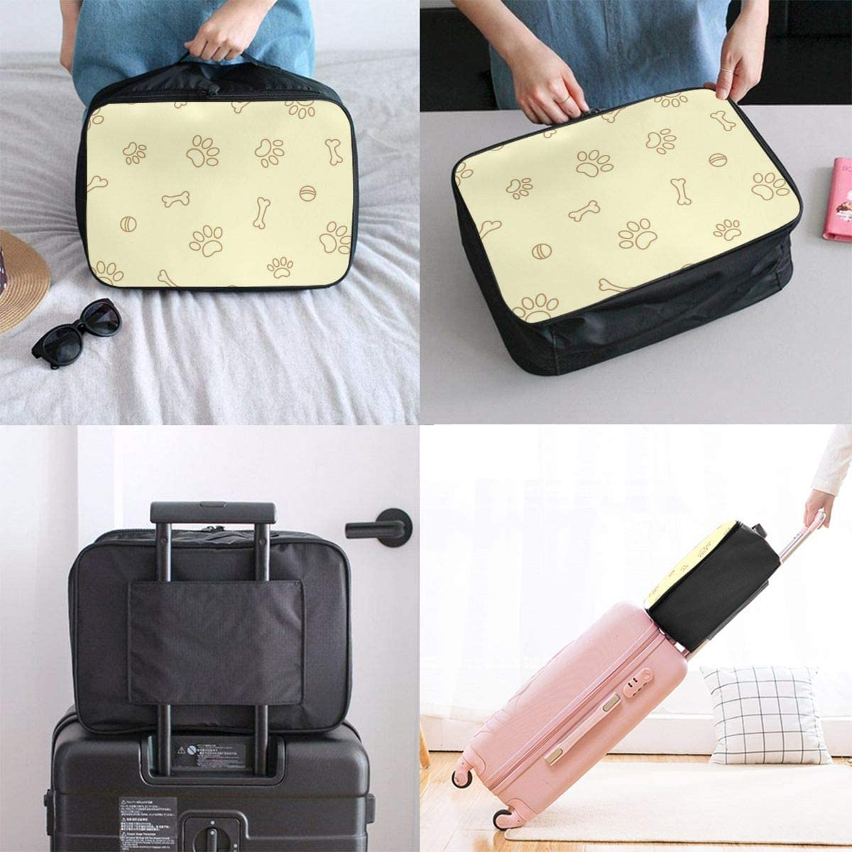 Yunshm Paw Prints And Bones On Beige Seamless Pattern Personalized Trolley Handbag Waterproof Unisex Large Capacity For Business Travel Storage