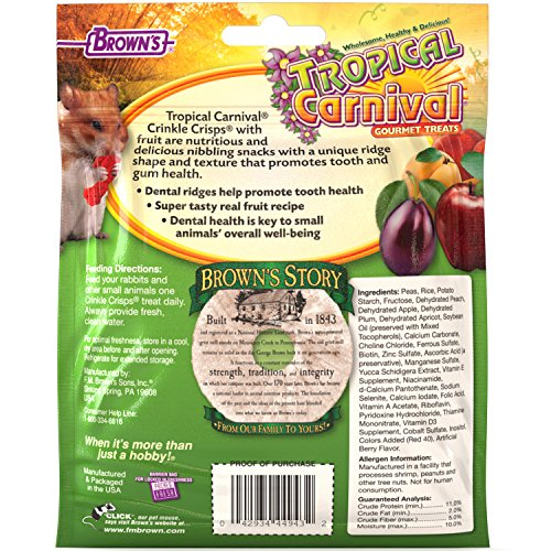 Picture of Tropical Carnival F.M. Brown's Crinkle Crisps Fruit, Gluten Free Small Animal Treats Dental Ridges to Promote Tooth Gum Care, 1.5-Ounce