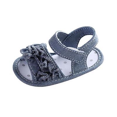 pour 0-18 mois Bébé, Amlaiworld Chaussures de berceau de fille d'enfant Sole douce de fleur nouveau-née Sandales anti-dérapantes pour bébés (11/0-6 mois, Gris)