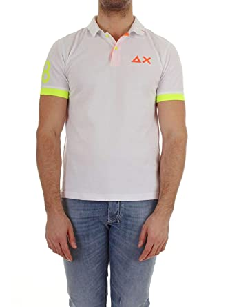 SUN68 Polo Mod. Polo El. 68 Parches Fluo Art. A18117 Blanco - M ...