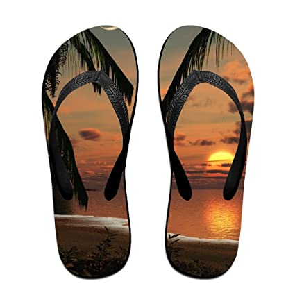 8c2191963867a8 Amazon.com  Vcddjns4 Beach Palm Trees Sunset Flip Flops Unisex ...