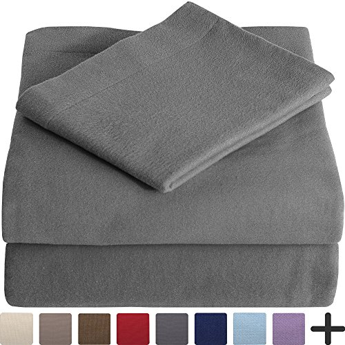 100% Cotton Velvet Flannel Sheet Set - Extra Soft Heavyweight - Double Brushed Flannel - Deep Pocket (Queen, Grey) (Top Rated Flannel Sheets)