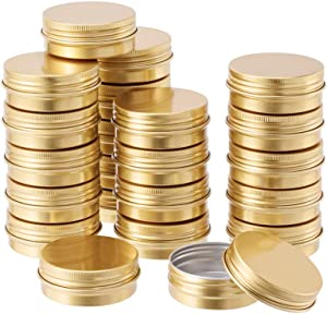 BENECREAT 30 Pack 1 OZ Round Tin Cans Screw Top Aluminum Cans with Lids for Lip Balm, Scrubs, Spices, Candies, Tea and Other Gift Giving (Gold)