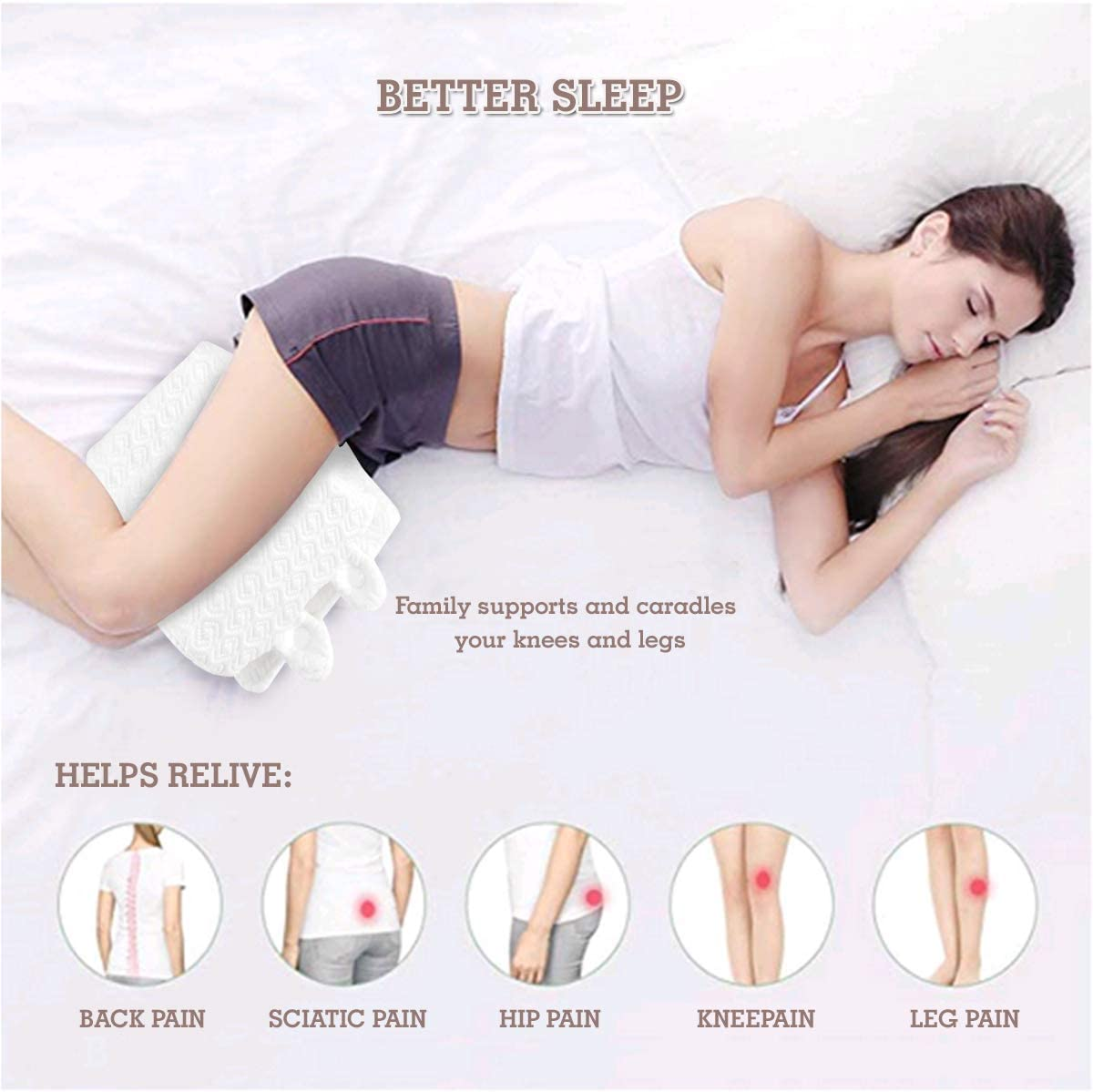 Memory Foam Orthopedic Contour Wedge with Washable Cover Sciatic Nerve Pain Relief Leg Pillow Pregnancy Best for Sciatica TFS TOP /· FANS Knee Pillow for Side Sleepers Back and Spine Alignment