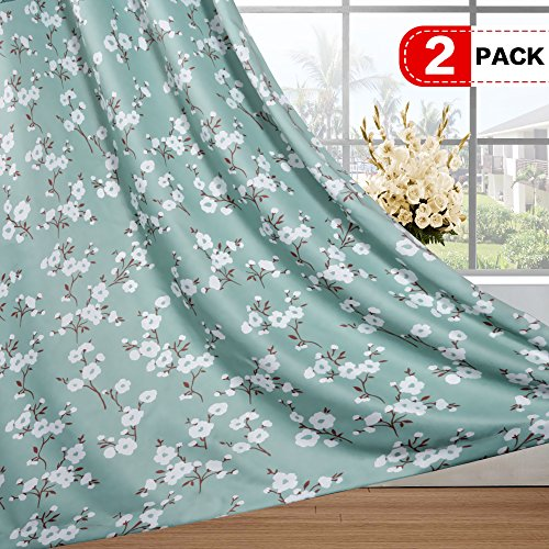 (H.VERSAILTEX Traditional Sakura Floral Pattern Room Darkening Thermal Insulated Blackout Curtains for Bedroom,Grommet Top,Set of 2 Panels, W52 x L63 inch)