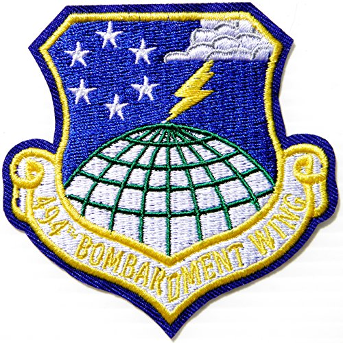 - 494TH BOMB WING USAF US Air Force Army Military Logo Shield Jacket T shirt Uniform Patch Sew Iron on Embroidered Sign Badge Costume