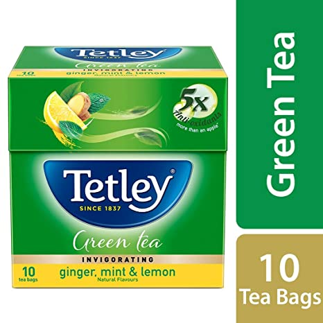 Tetley Green Tea, Ginger Mint Lemon, 10 Tea Bags