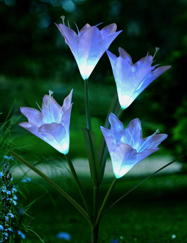 Bright Zeal 1 Bundle 4 Lily Color Changing Solar Lights Outdoor