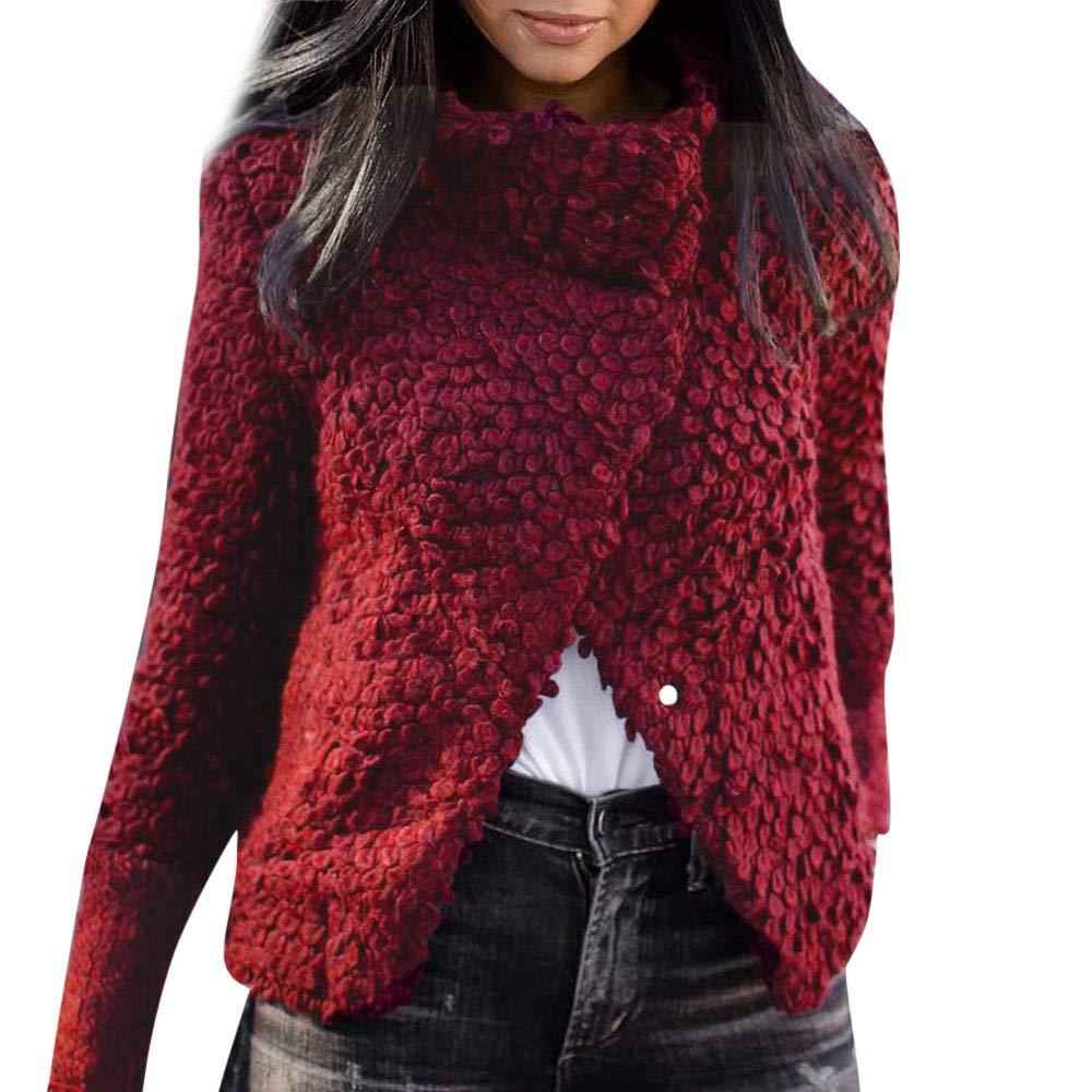 Zainafacai Fashion Outwear, Women's Chunky Asymmetric Hem Wrap Solid Sweater Turtle Cowl Neck Button Coat (Red, XL)