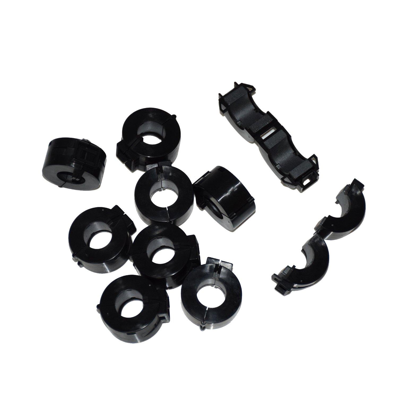 stardrift 10-Pack 15mm Inner Diameter Ferrite Core Cord Ring RFI EMI Noise Filter Cable Clip Black