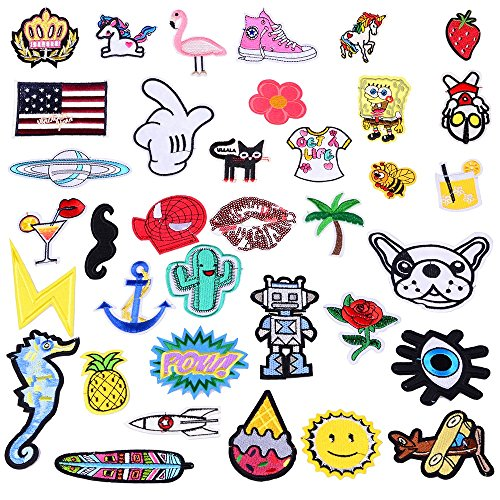 36 Pcs Random Assorted Iron-On Embroidered Motif Applique Glitter Sequin Decoration Patches 1-5 Inches Assorted Size DIY Sew on Patch Perfect for Jeans, (Fish Applique Pattern)