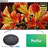 Sony XBR65X850F 65-Inch 4K Ultra HD Smart LED TV (2018 Model) with Google Home Mini (Charcoal) + Hulu $25 Gift Card